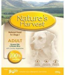 Natures Harvest Adult Fish and Rice Dog Food 10 X 395g