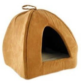 Ancol Timberwolf Faux Suede Pyramid Cat Bed