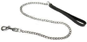 Extra Heavy Chain Dog Lead Black Handle