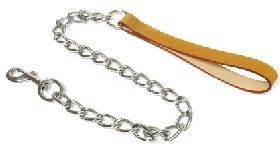 Extra Heavy Chain Dog Lead Tan Handle