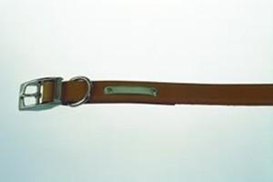 "Handsewn Leather Dog Collar Tan 14"""