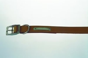 "Handsewn Leather Dog Collar Tan 16"""