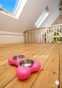 Pink Bone Shape Feeding Bowls