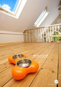 Orange Bone Shape Feeding Bowls
