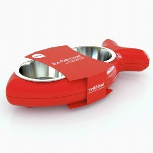 Red Fish Shaped Feeding Bowls For Cats