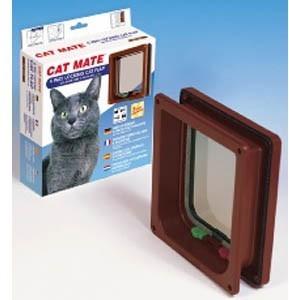 4 Way Cat Door With Liner Pet Mate Brown