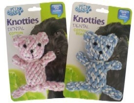 Knotty Teddy Bear Puppy Toy Pink by Pet Brands