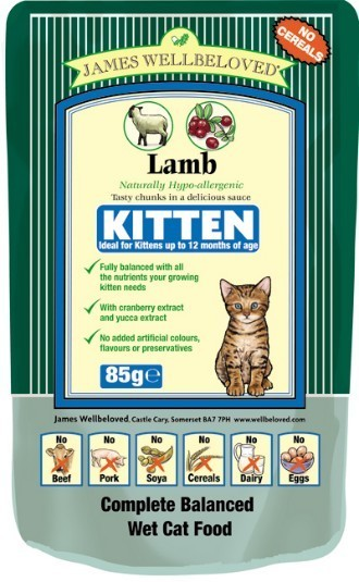James Wellbeloved Lamb Kitten Pouch 85g X 12