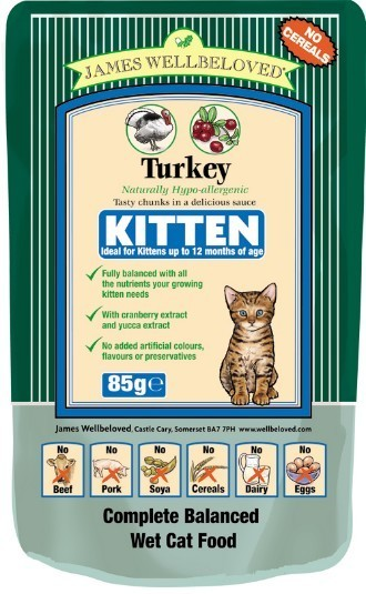 James Wellbeloved Turkey Kitten Pouch 85g X 12