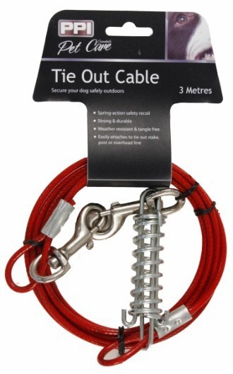 Dog Tie Out Cable With Spring 3 Metres