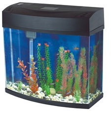 Slim Bow Front Fish Tank Black