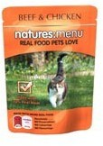 Natures Menu Cat Food Beef and Chicken 100g Pouch