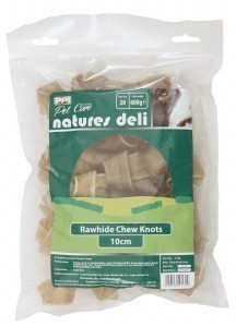 "Rawhide Chew Knots 4""- 4.5"" Pack 20 Dog Treats"