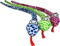 Plush Dapples Snakes With Squeak Dog Toy