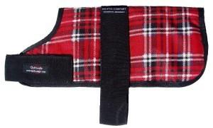 Outhwaites Padded Dog Coat Red Tartan 25cm