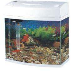 Slim Bow Front Fish Tank White