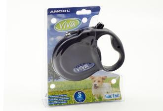 Ancol Viva 5m Retractable Dog Lead Small Black