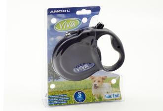 Ancol Viva 5m Retractable Dog Lead Small Black