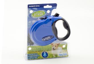 Ancol Viva 5m Retractable Dog Lead Small Blue