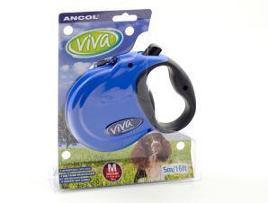 Ancol Viva 5m Retractable Dog Lead Medium Blue