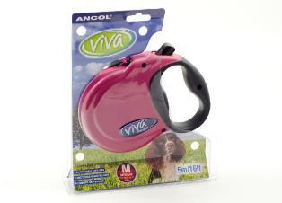 Ancol Viva 5m Retractable Dog Lead Medium Raspberry