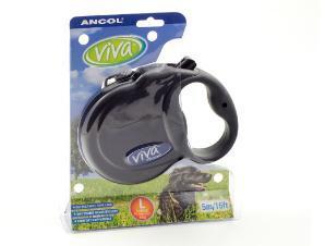 Ancol Viva 5m Retractable Dog Lead Large Black