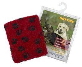 Pet Hottie Microwaveable Heat Pad Red Paw Print Fleece