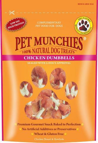 Pet Munchies Chicken Breast and Rawhide Dumbells 8 packs for the price of 7