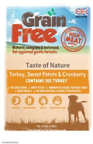 Taste of Nature Grain Free Turkey, Sweet Potato and Cranberry Dog Food 2kg