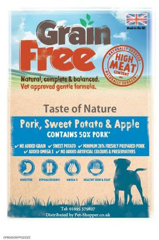Taste of Nature Grain Free Pork, Sweet Potato and Apple Dog Food 2kg