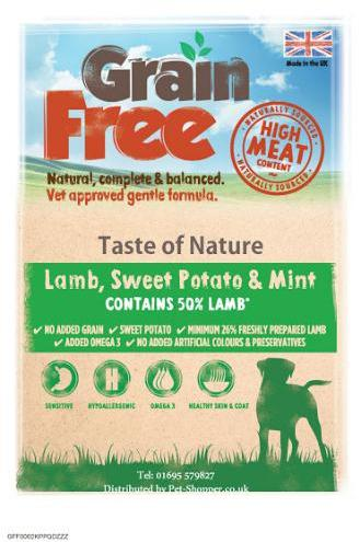 Taste of Nature Grain Free Lamb, Sweet Potato and Mint Dog Food 2kg