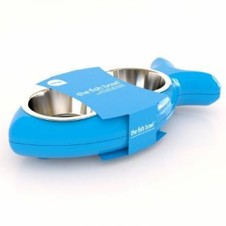 Blue Fish Shaped Feeding Bowls For Cats