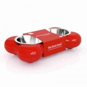 Red Bone Shape Feeding Bowls