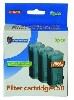 Superfish Aqua Flow 50 Filter Easy Click Cartridge pack of 3