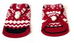 Red Hooded Snowflake Xmas Jumper 46cm