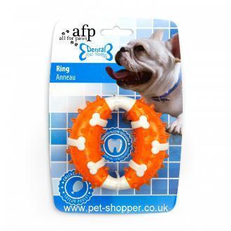 All For Paws Dental Dog Chews Ring Orange Dog Toy