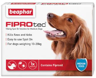 Fiprotec Spot On Flea treatment for Medium Dogs 10-20kg