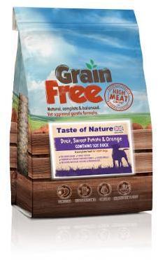 Taste of Nature Grain Free Duck,Sweet Potato and Orange Dog Food 2Kg