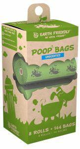 Earth Friendly Poop Bags Unscented - 8 Rolls of 18 Bags