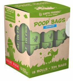 Earth Friendly Poop Bags Unscented - 18 Rolls of 18 Bags