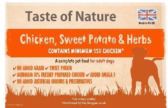 Taste of Nature Grain Free Chicken Dog Food 12kg