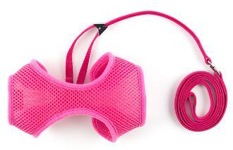Ancol Cat Harness Soft Nylon Pink large with Lead