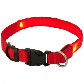 Red Adjustable LED Flashing Dog Collar Small