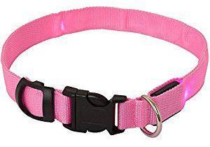 Adjustable LED Flashing Dog Collar Pink Medium