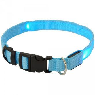 Adjustable LED Flashing Dog Collar Blue Medium