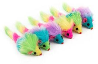 Furry Rainbow Mice Cat Toys 6 pack