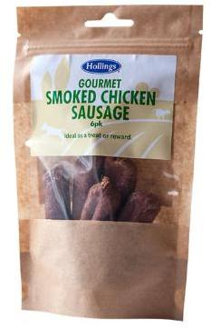 Hollings Smoked Chicken Sausages Dog Treats x 12 packets
