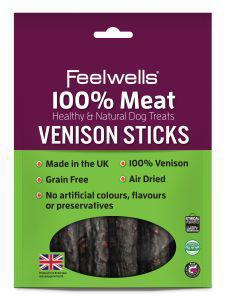 Feelwells 100% Meaty Venison Sticks dog treats x 10