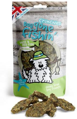 Dog Gone Fishin White and Red Fish With Chamomile Crunchies Dog treats
