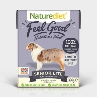 Nature Diet Feel Good Senior Lite Dog Food 390g X 18